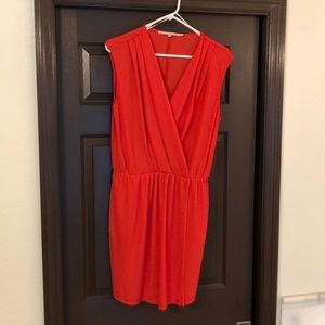 coral mini dress with pockets.